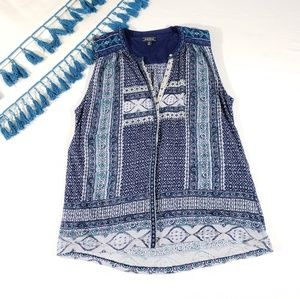 Lucky Brand Embroidered Blue Tank Top Size M